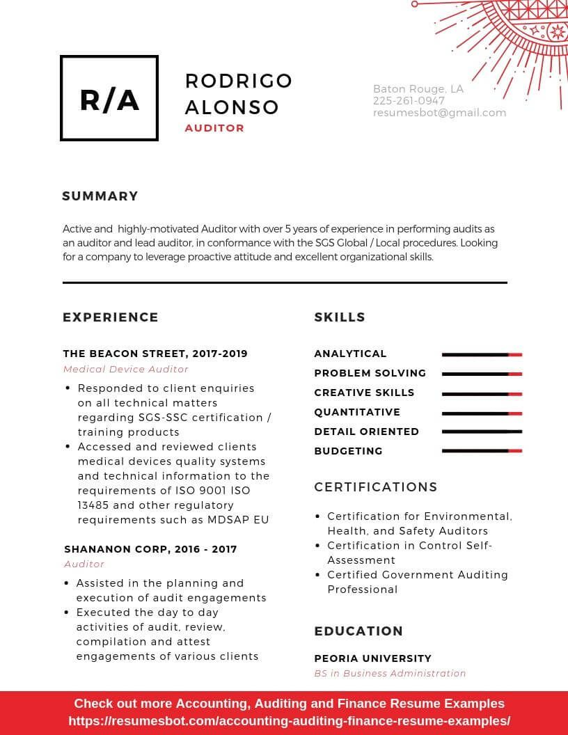 Auditor resume sample example and tips pdfdoc resume