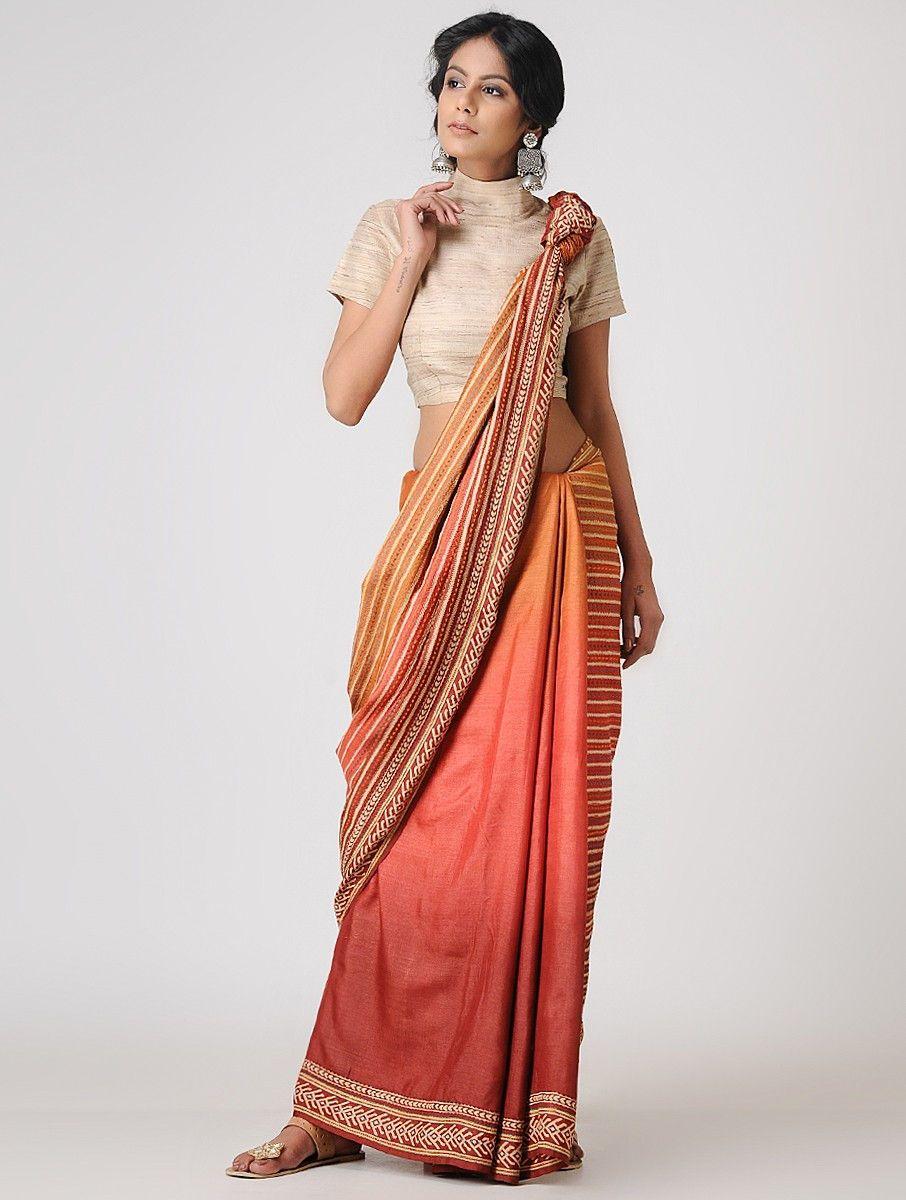 49d41502fb728a Buy Orange-Pink Block-printed and Tanka-embroidered Tussar Silk Saree Online  at