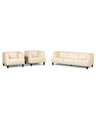 Alessia Leather Sofas 3 Piece Set Sofa And 2 Chairs Tried