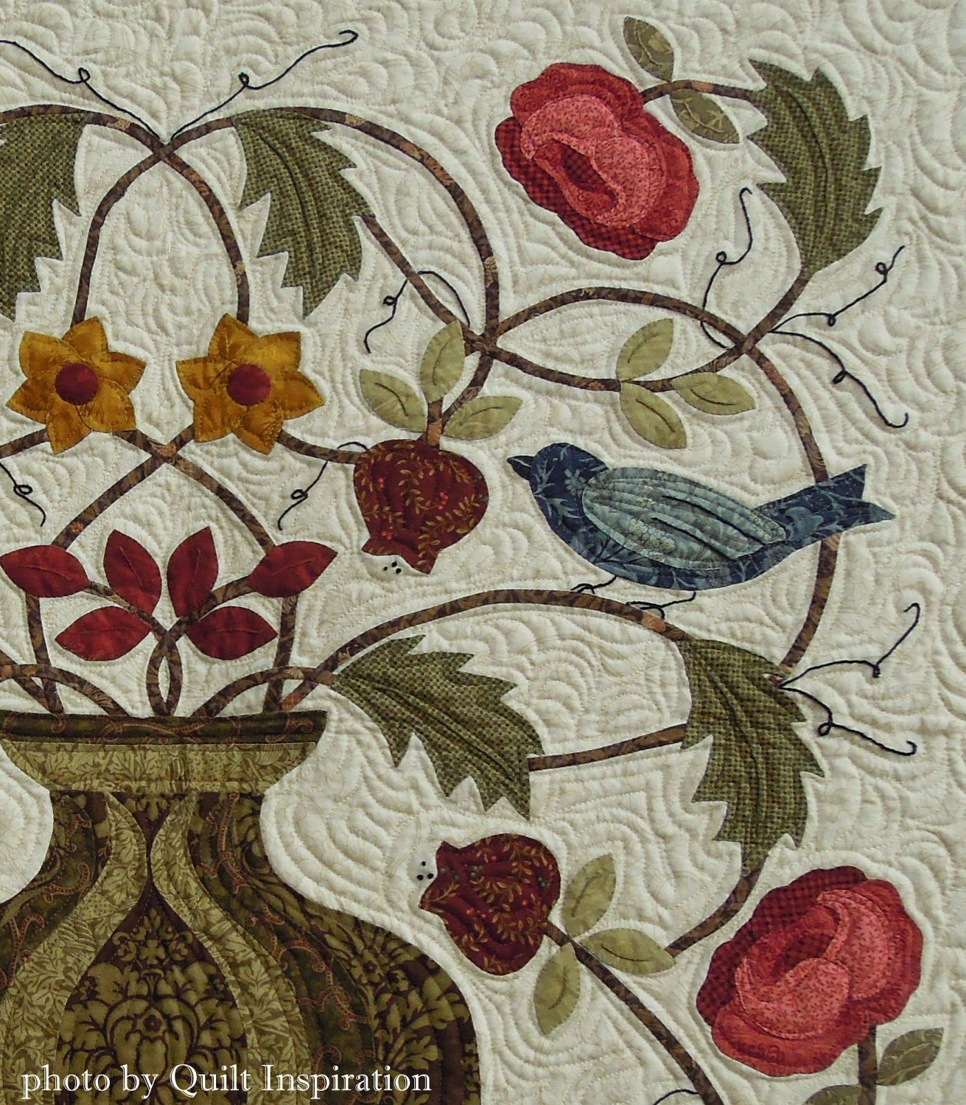 "Close up, A Matter of Morris by Mary Mix, photo by Quilt Inspiration. The pattern is from the book, ""Floral Abundance: Applique Designs Inspired by William Morris"" by Rosemary Makhan."
