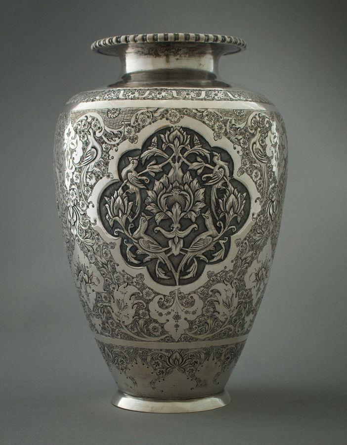 Silver vase metal works pinterest repujado el for Jarrones persas