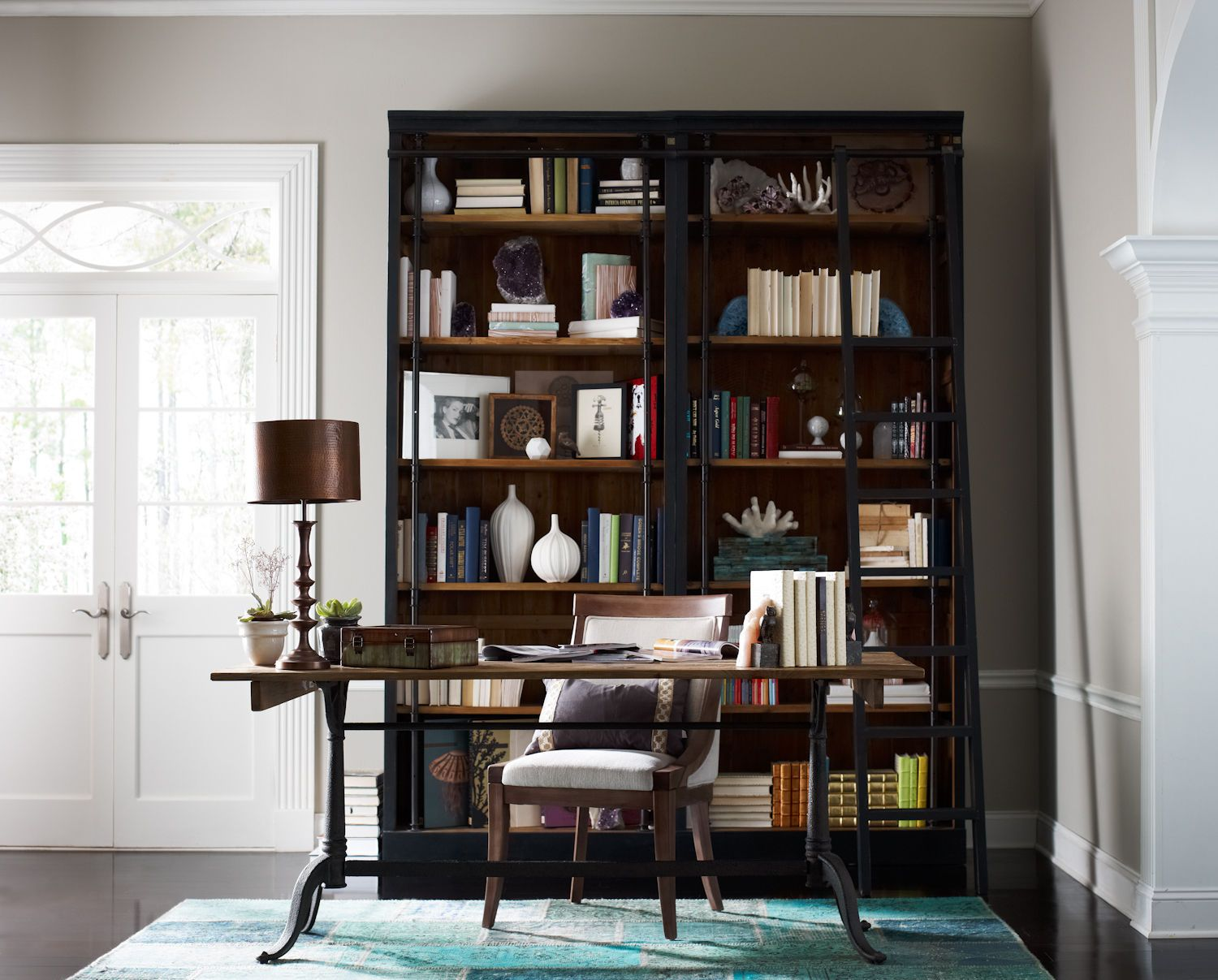 Home office ivy bookcase and laddermatte black cirdhe house
