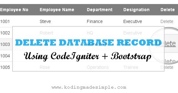 CodeIgniter Bootstrap Tutorial   Delete Data from Database