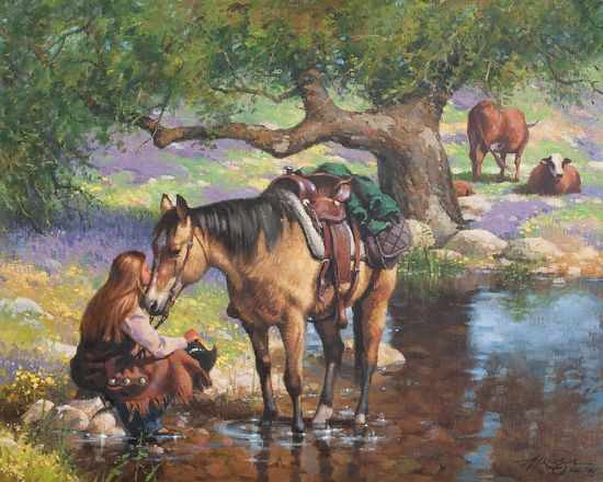 """Oil Painting Indians and A Herd of Horses 16/""""x20/"""" Home Decor  Art Canvas Print"""