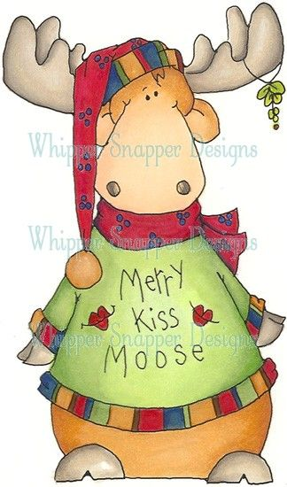 Merrry Kiss Moose clipart Pinterest Christmas, Moose and