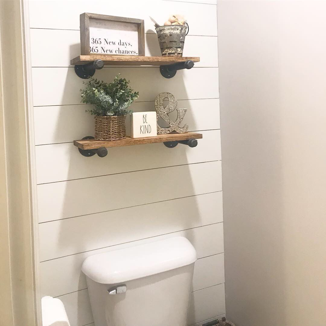 Diy shiplap and shelves for a small water closet in the
