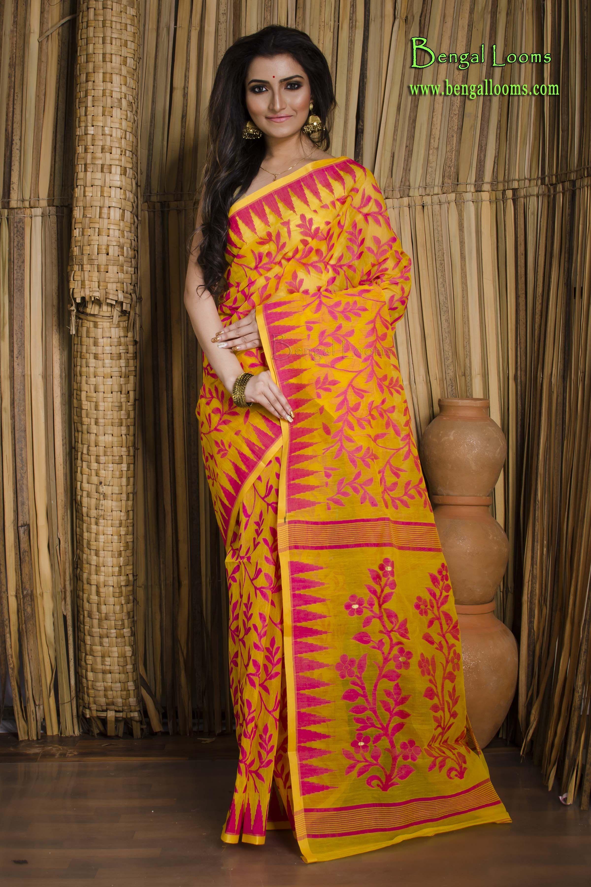 77220bdbbe7e5 Jamdani Saree in Yellow and Rani