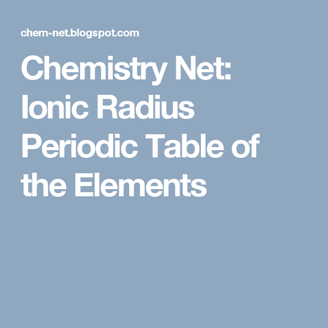 Ionic Radius Periodic Table Of The Elements Pinterest Ionic