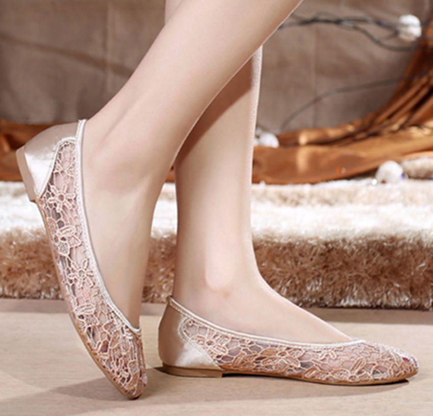 Champagne Women Silk Lace Flower Flat Ballet Bridal Wedding Shoes Pump Size Us