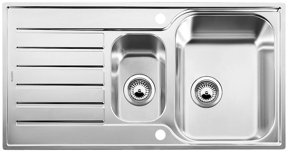 Blanco Lantos 1.5 Bowl Stainless Steel Sink & Drainer | Departments | DIY at B&Q