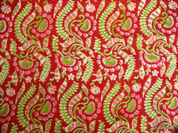 Indian Cotton Floral  Block Print Sari Border by theDelhiStore