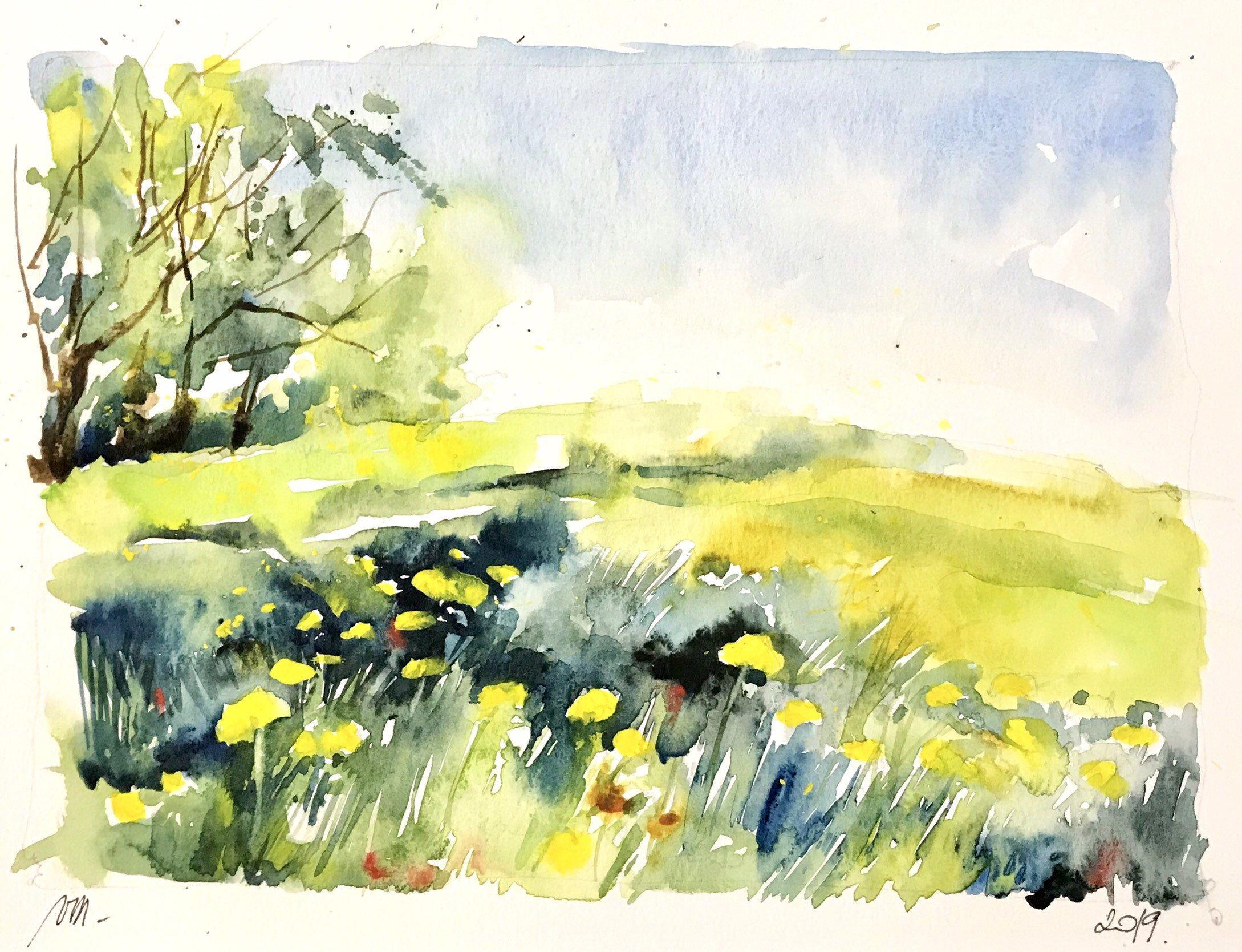 Aquarelle Peinture Originale Les Fleurs De Pissenlits Au