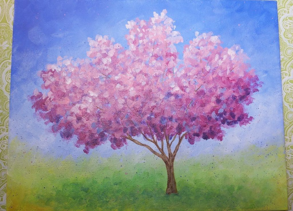 Impressionist cherry blossom tree live acrylic painting for Simple cherry blossom painting