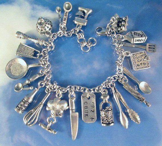 Love 2 Cook Deluxe Charms Bracelet Personalized Culinary Cookbook Chef Food Cooking  Kitchen Gadget Chef Mixer Knife Tongs Grater Oven Mitt