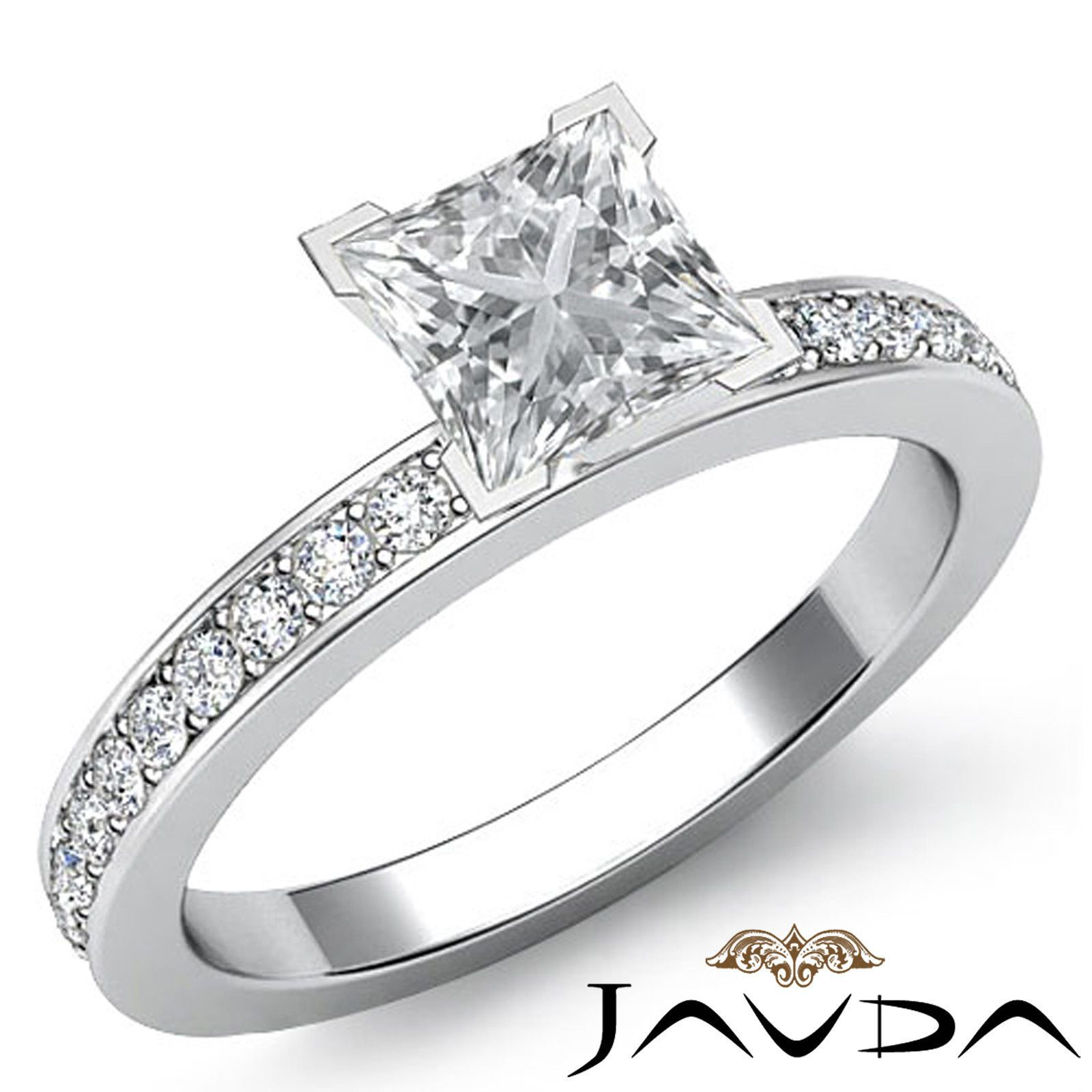 Classic princess diamond cathedral pave engagement ring egl g vs