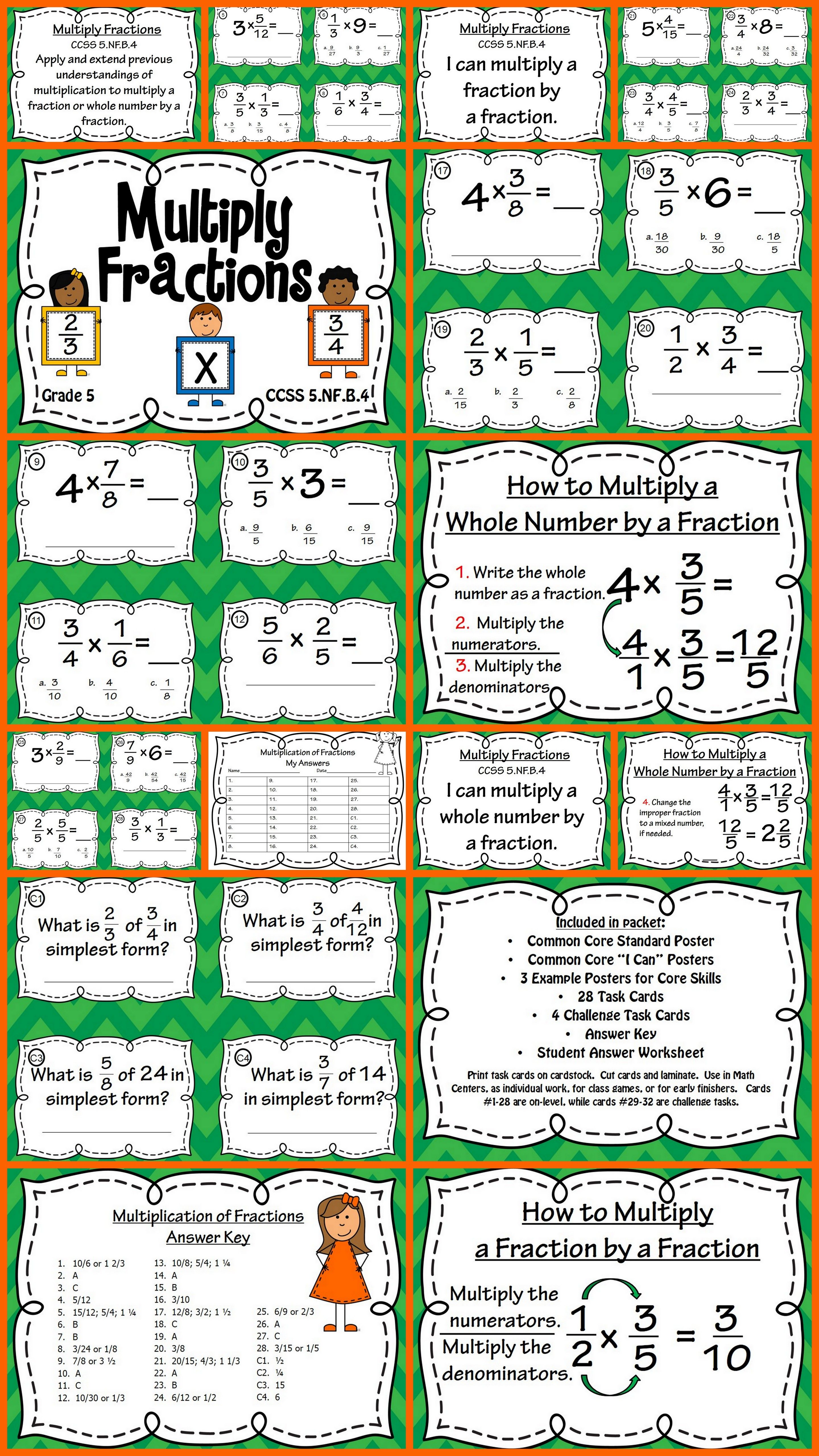 multiplying fractions task cards and poster set - fraction