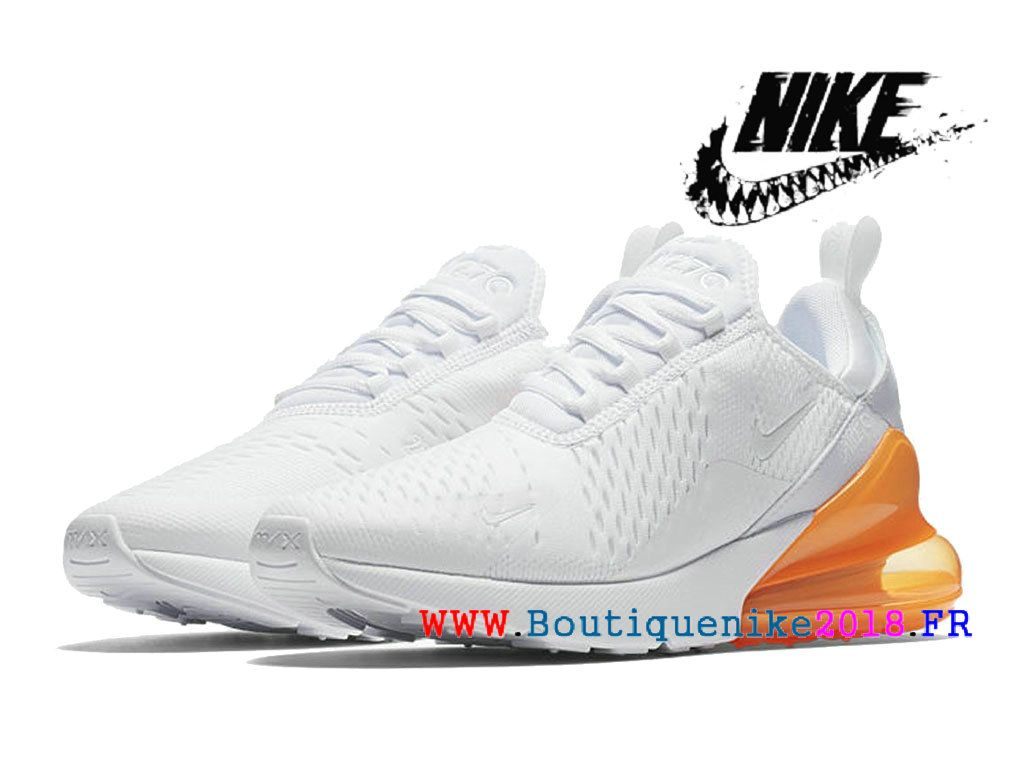 902befbf15f Nike Air Max 270 Basketball Chaussures Pas Cher Prix Homme Blanc   orange  AH8050-102
