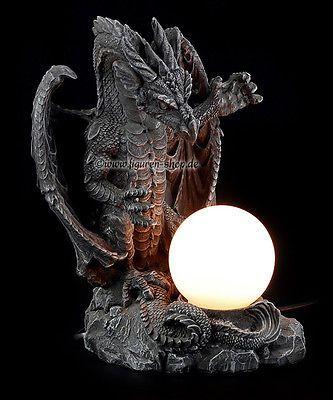 Gothic lamp dragon drachen lampe deko figur dragon statue fantasy lamp wohnen - Gothic einrichtungsideen ...