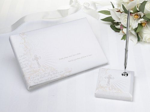 Christian Guest Book with Pen Set