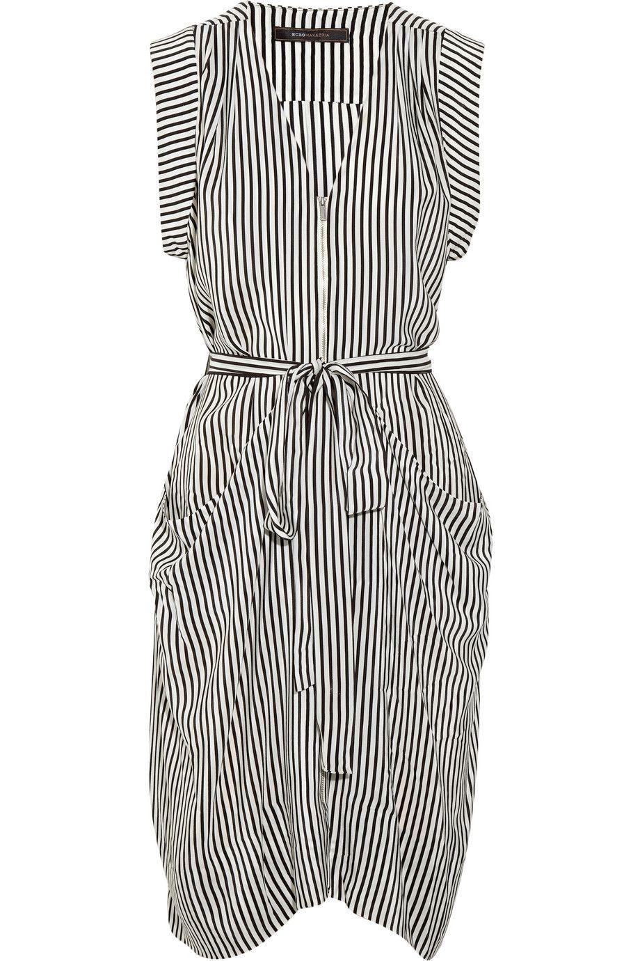 BCBG Draped striped silk dress