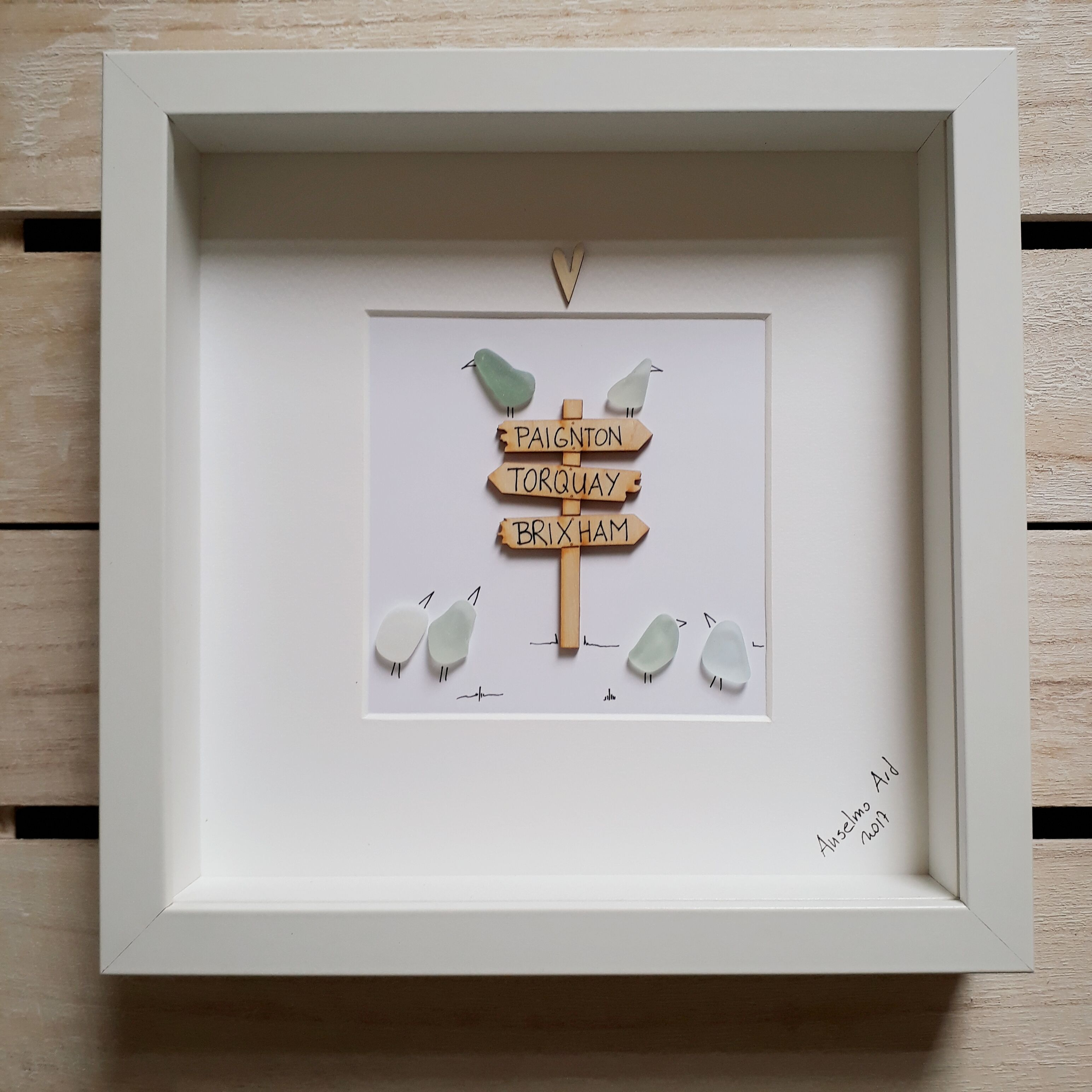 Sea glass picture, sea glass birds, framed picture, signpost ...