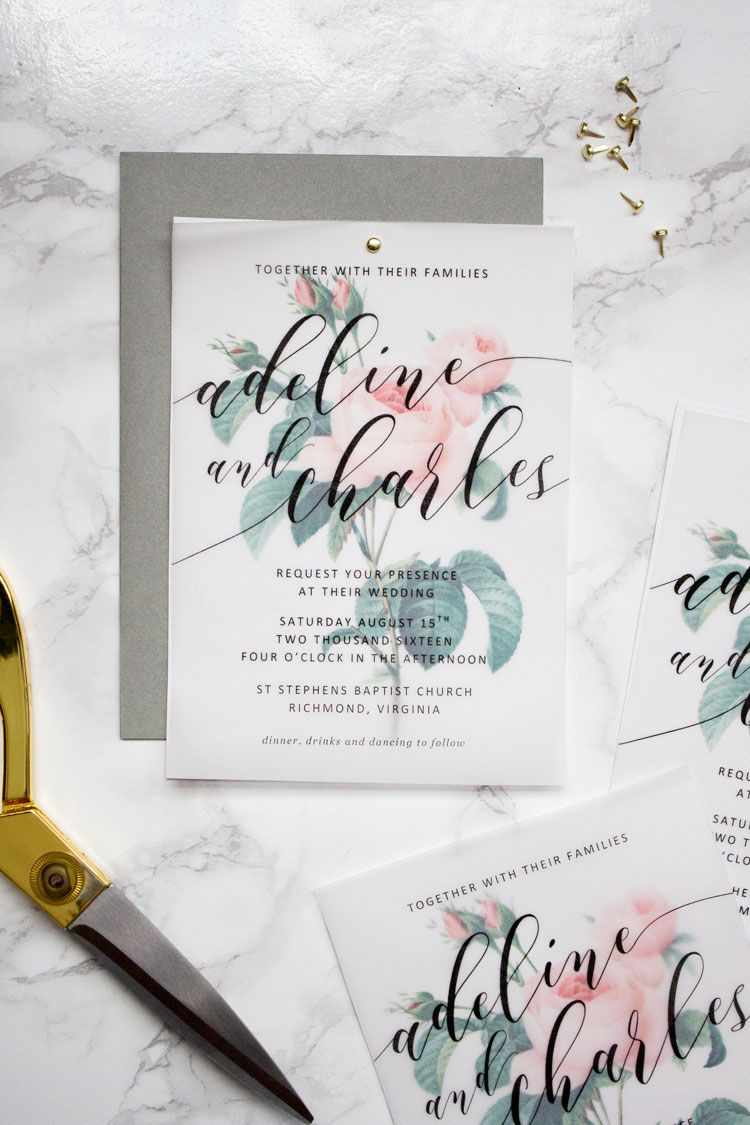 Make these sweet floral wedding invitations using nothing more than