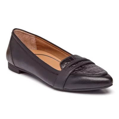 vionic savannah flat with arch support in black leather