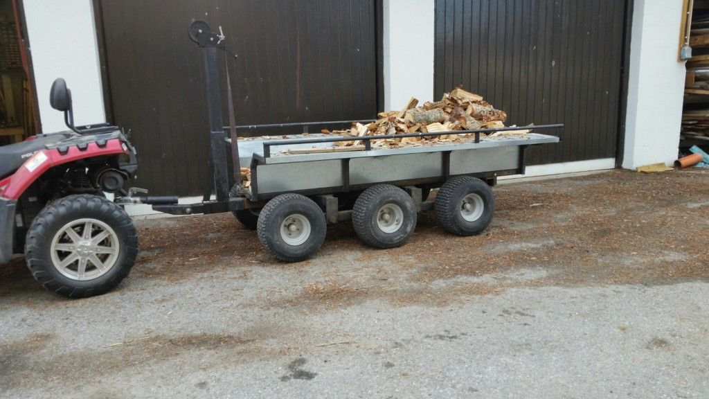 Homemade 6 wheel atv trailer for heavy transport in the woods and ...