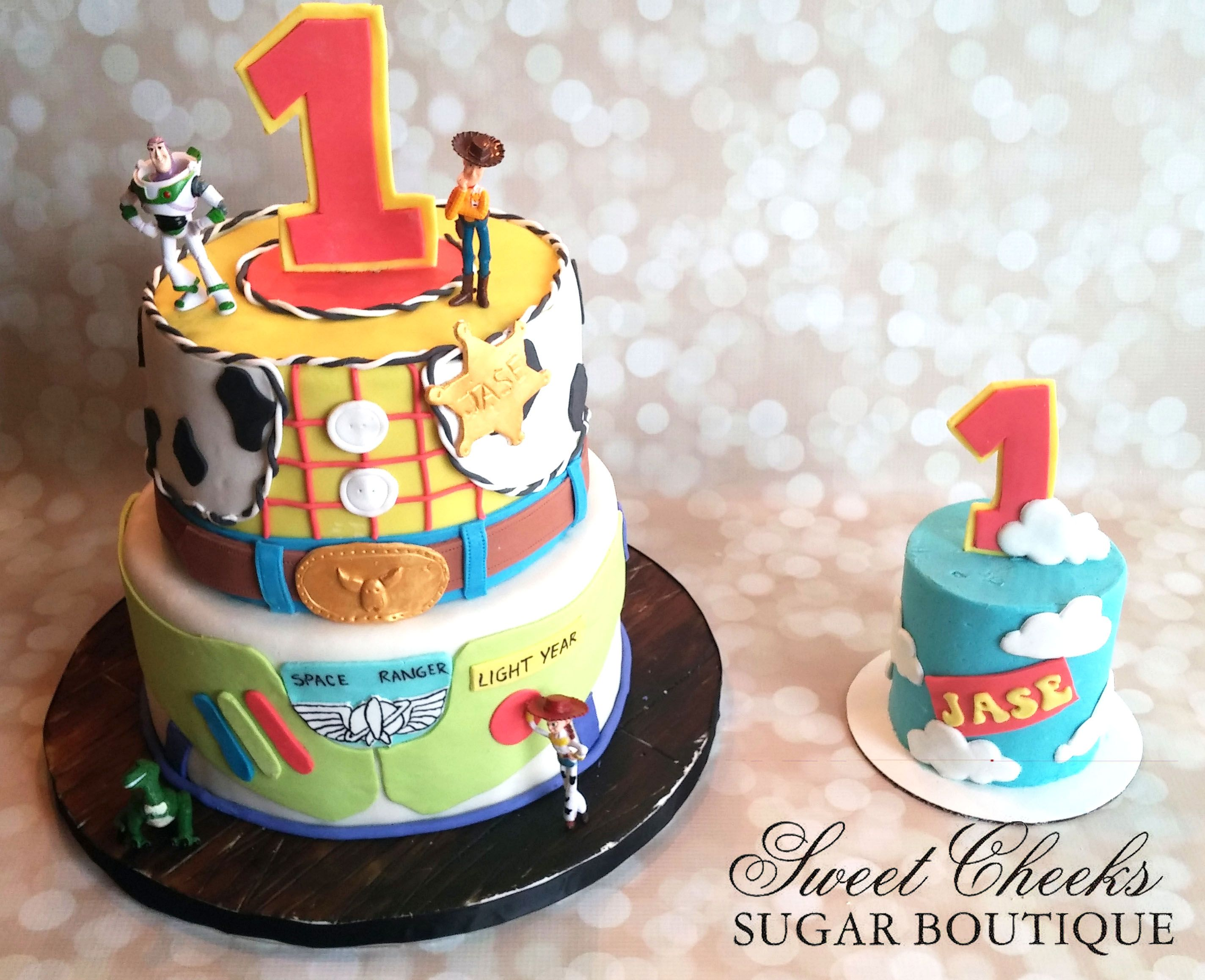 A Toy Story Themed Cake And Matching Smash For An Adorable One Year Old Happy Birthday Jase