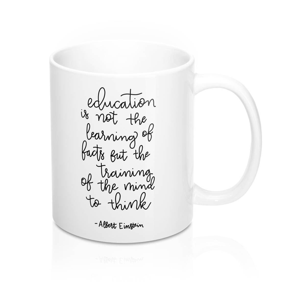 teacher coffee mug einstein quote education quote teacher