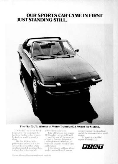 1975 Fiat X1 9 Original Vintage Advertisement Winner Of Motor