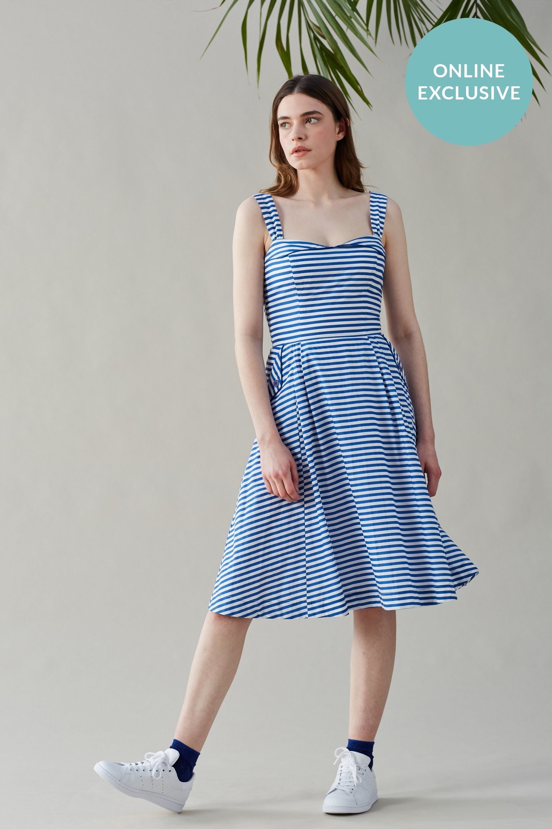 Buy Pippa Blue Stripe Summer Dress from luxury boutiques at