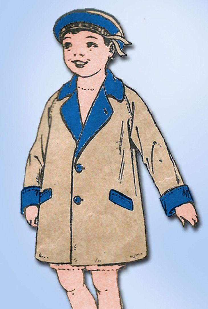1920s Vintage Butterick Sewing Pattern 6750 Little Boys Raglan Over Coat Sz 6