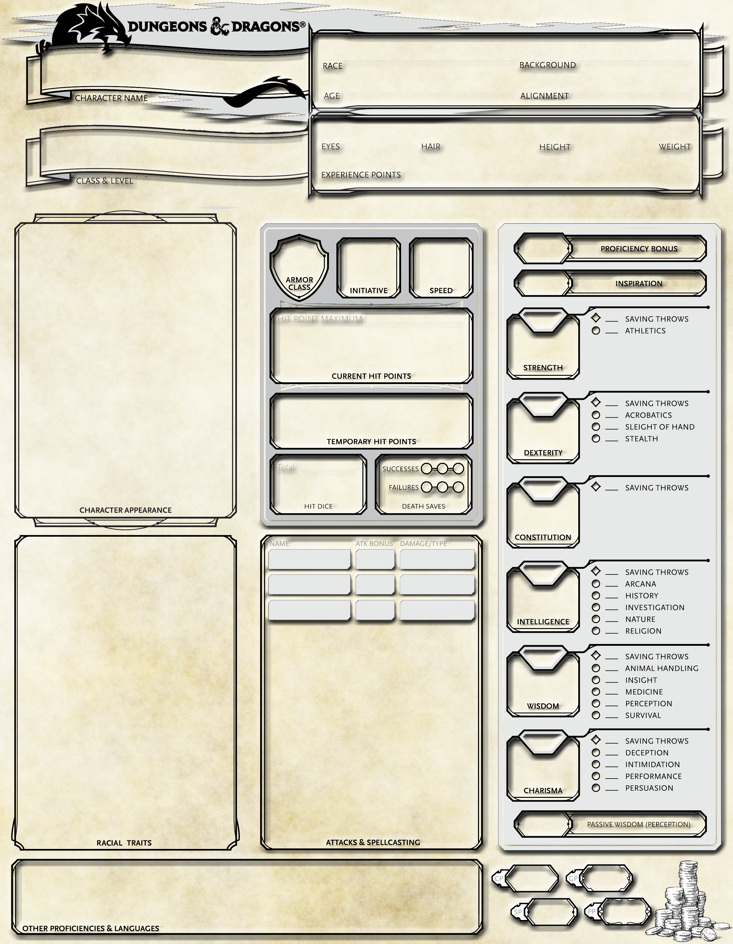 DND 5E custom Character sheet for Stats | My Homebrew DND