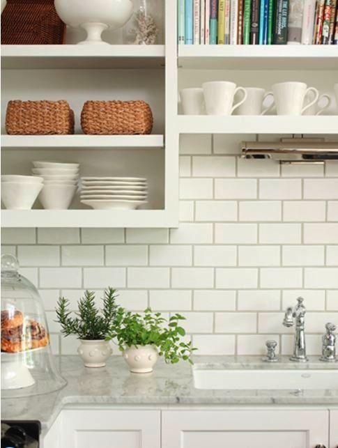 White Metro Tiles Dark Grout Marble Countertops Kitchen