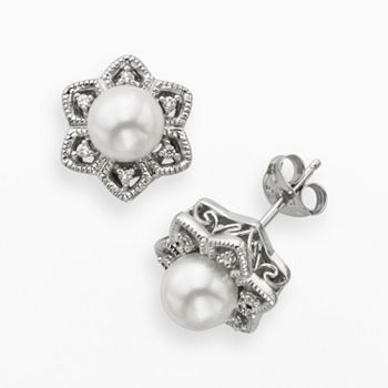 Simply Vera Vera Wang Sterling Silver Freshwater Cultured Pearl and Diamond Accent Stud Earrings #kohls