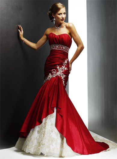 Blood Red Mermaid Dress With White Lace And Gold Accenting The Waist Definitely A Show Stopper