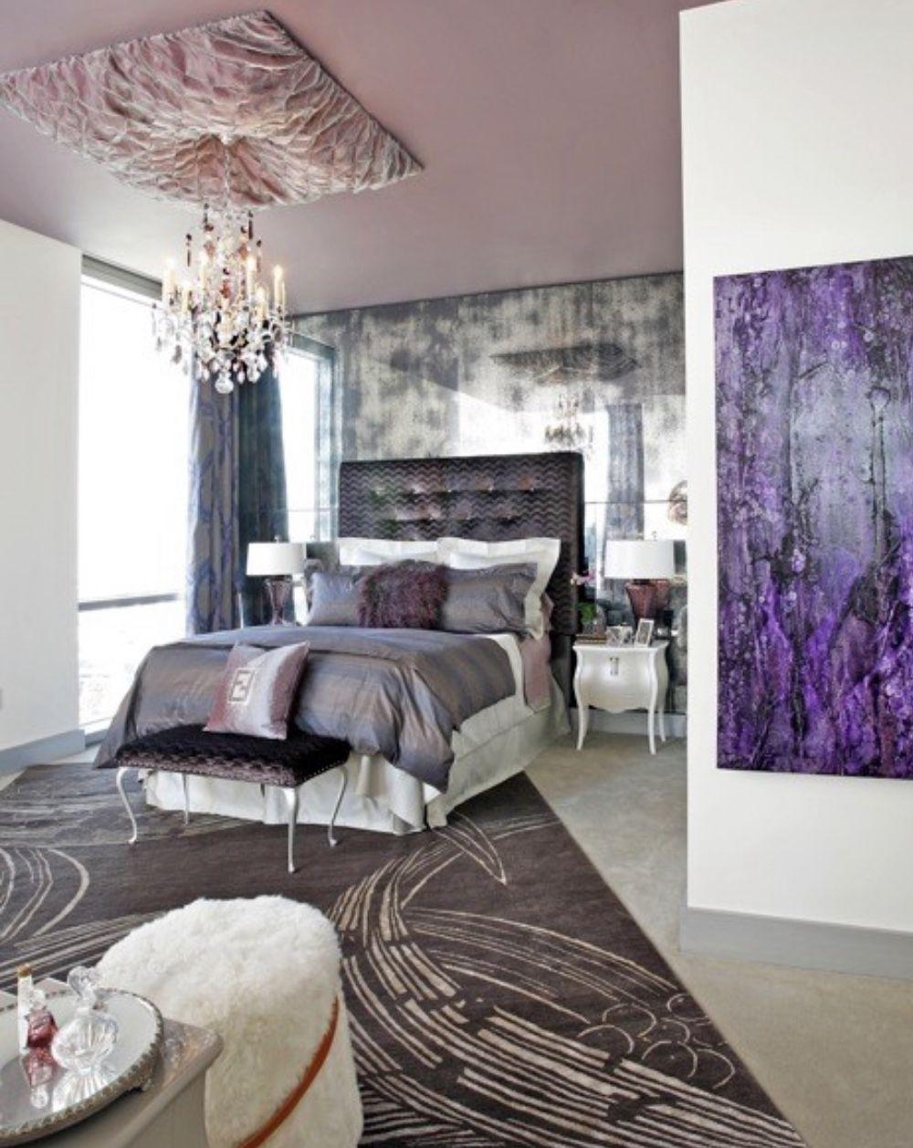 Silver bedroom, chrome decor, purple bedroom #purple # ...