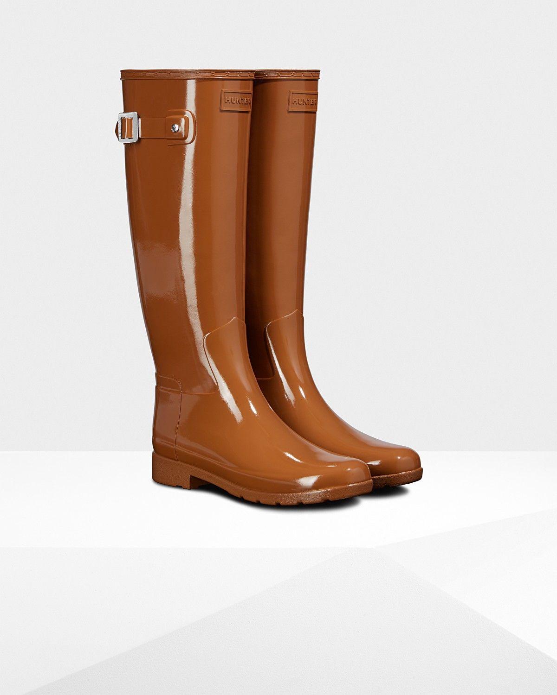 57541f113 Hunter Women's Original Leopard Print Lining Refined Tall Rain Boots:  Thicket - Us 5