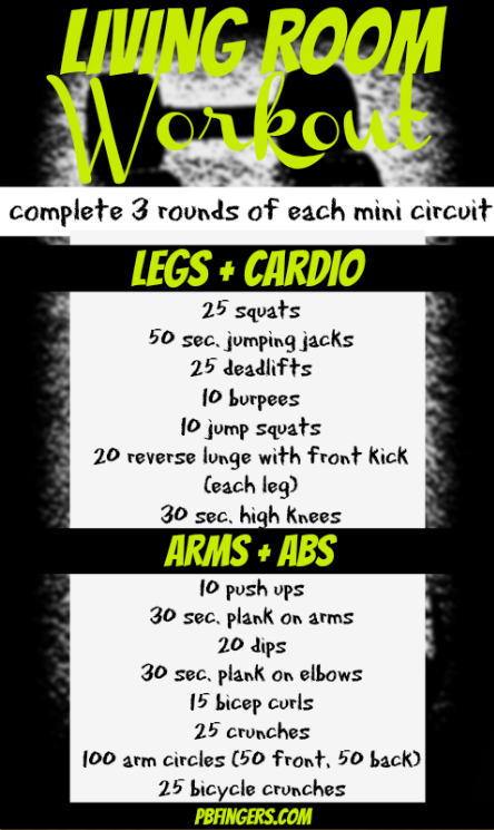 A workout you can do at home in your living room! I tried this and it was pretty  tough to complete 3 circuits. Definitely great for days where you can't leave the house.