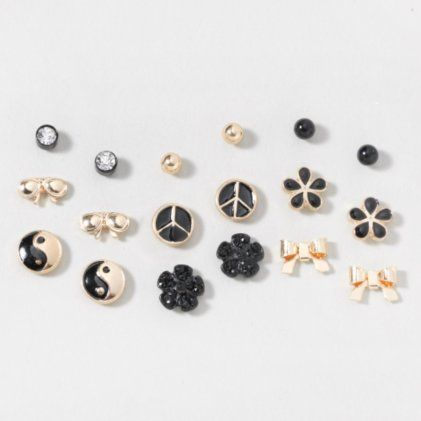 f0e88c875 CLAIRES - BLACK AND GOLD PEACE, FLOWERS AND BOWS STUD EARRINGS SET OF 9  $14.50
