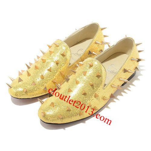 Discount Christian Louboutin Rollerboy Golden Spikes Flats [Christian Louboutin Outlet 1052] - $130.50 : Christian Louboutin shoes on sale