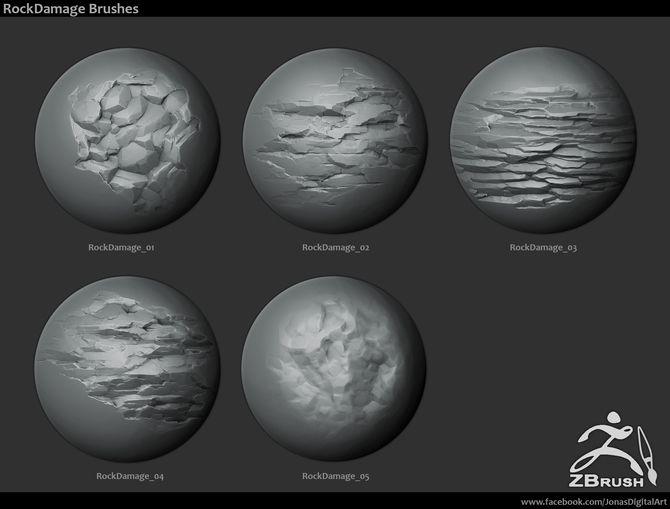 ZBrush/SP - 18 Rock Brushes + 3 Ztool rocks, mini tutorial
