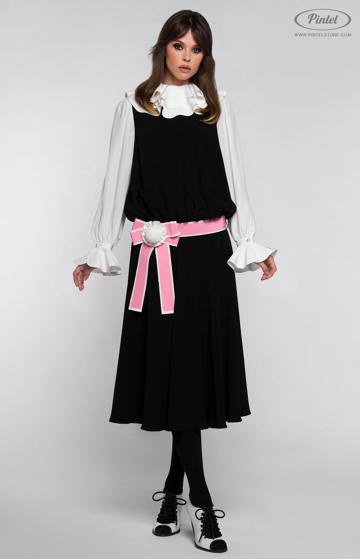 Combined lowwaist longsleeve genuine silk dress flounced collar