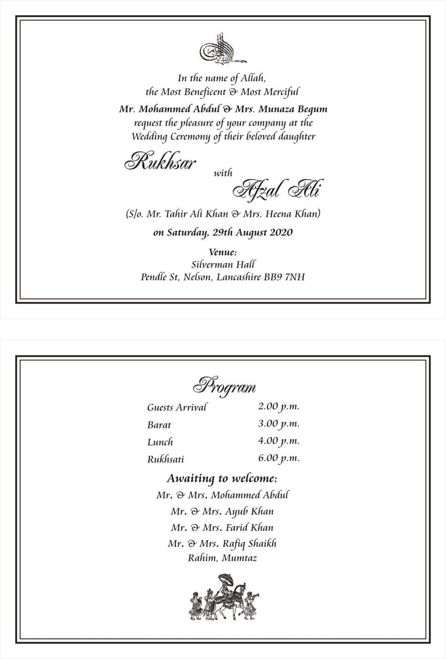 27 Brilliant Picture Of Muslim Wedding Invitations Denchaihosp Com Muslim Wedding Invitations Wedding Ceremony Invitations Wedding Invitation Card Wording
