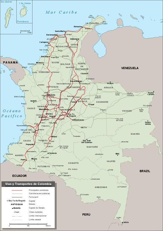 Mapa Vector Colombia Carreteras US 9500 MapasMaps