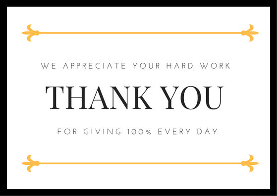 Employee Appreciation Thank You Note  Cards Invitations