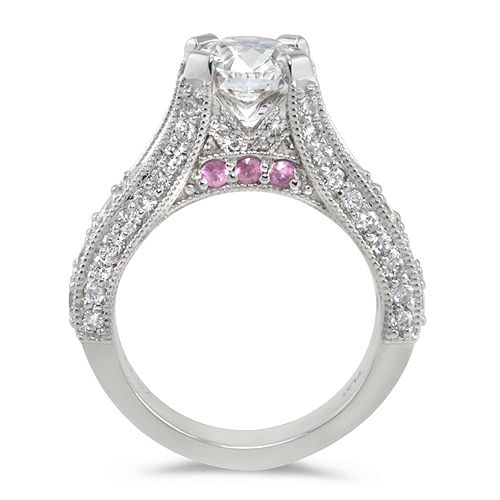 Lady's Antique Engagement Ring - Prong  Center - Prong - Pave  - 7mm - Platinum