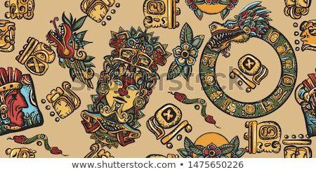 stock vector mayan pattern ancient mexican civilization