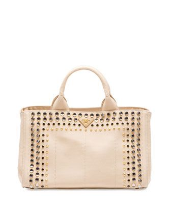 c616502144cd Canapa+Canvas+Gardener\'s+Tote+Bag+w/Studs,+Beige+(Corda)+by+Prada+ ...
